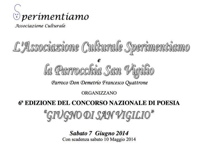 """Concorso Nazionale di Poesia """"Giugno di San Vigilio 2014"""""""