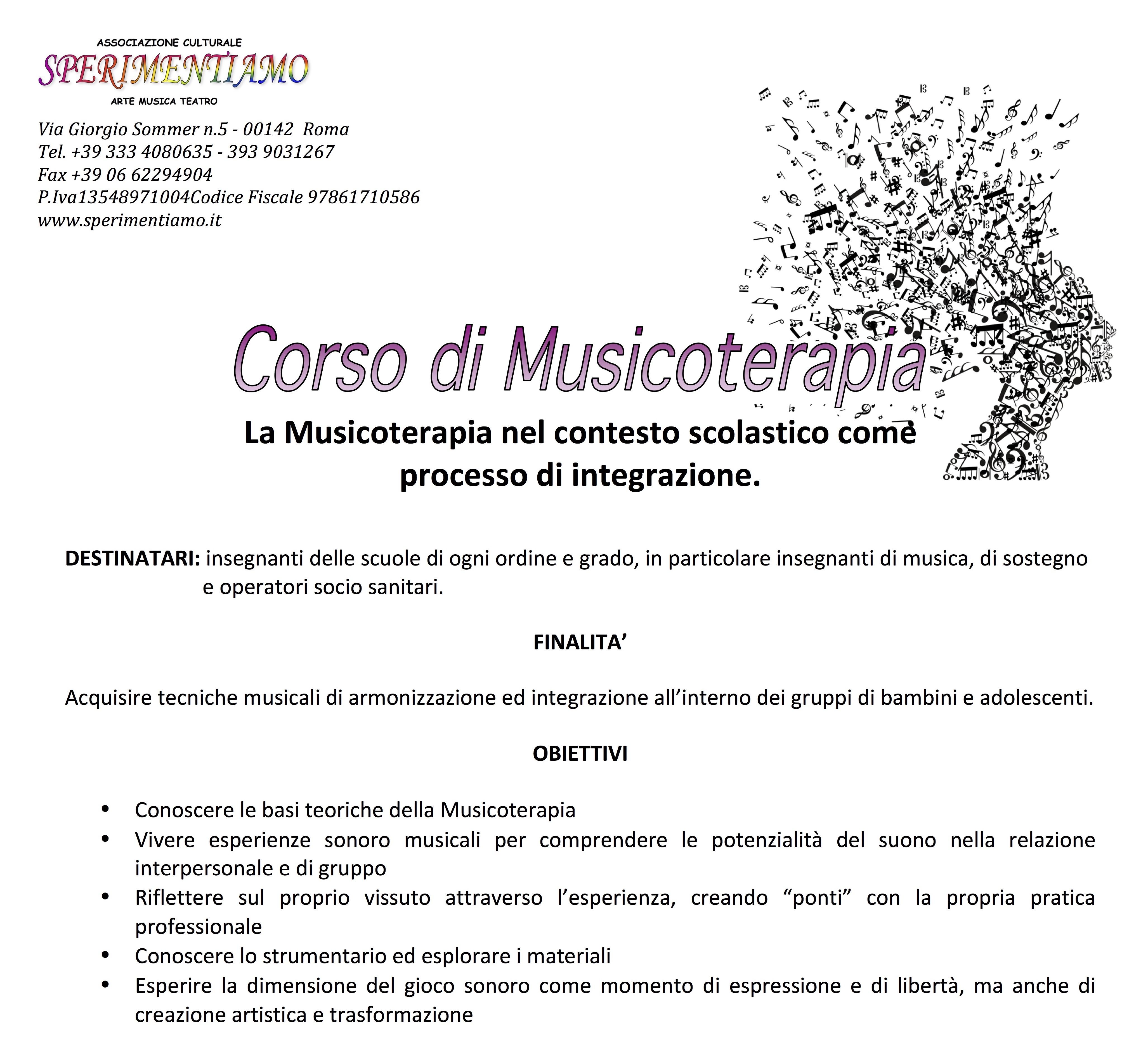 Corso di Musicoterapia - Locandina