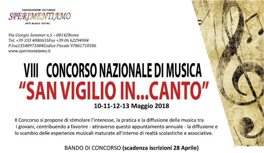 """8° Concorso Nazionale di Musica """"San Vigilio In...Canto"""" 2018"""