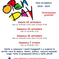 open day 22-23-30 SETT e 7 OTT